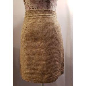 Kate Spade gold metalic tweed pencil skirt